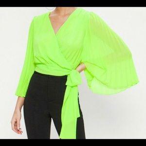 Neon Wrap Blouse